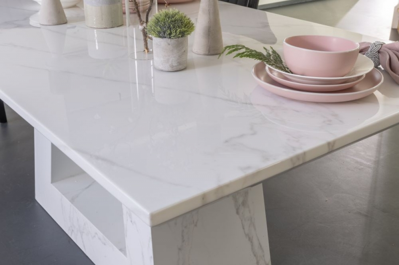 London White Marble Rectangular Dining Table