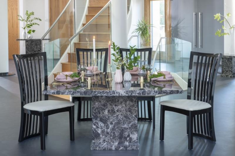 Prague Black Marble 140cm Square Dining Table