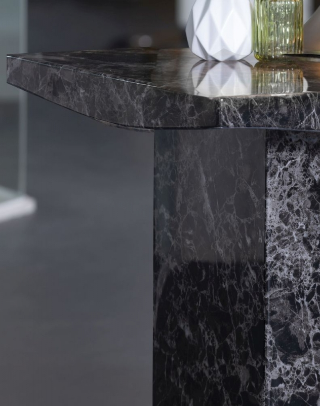 Prague Black Marble Square Side Table