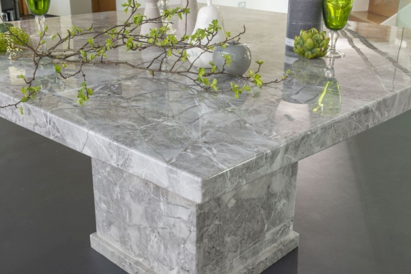 Prague Grey Marble 140cm Square Dining Table