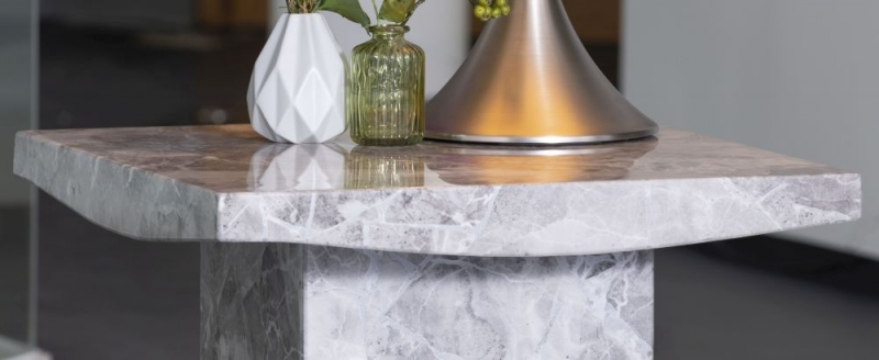 Prague Grey Marble Square Side Table