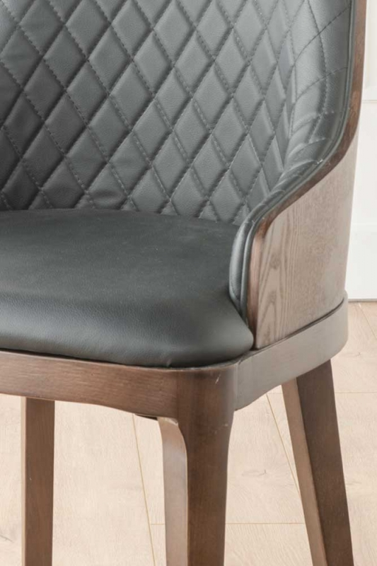 Freya Black Faux Leather Scoop Back Dining Chair