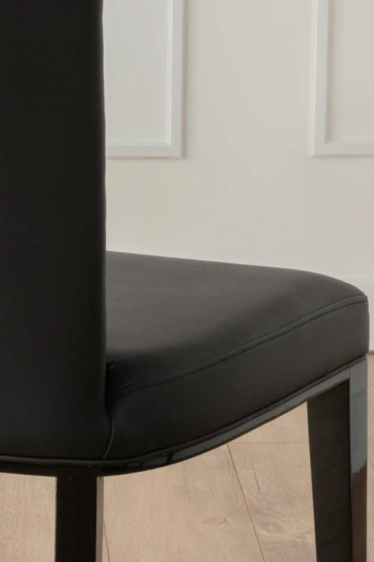 Nova Black Faux Leather High Back Dining Chair