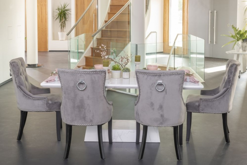 London White Marble Rectangular Dining Set with Ellie Grey Velvet Knockerback Chairs