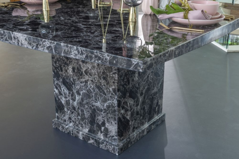 Prague Black Marble 140cm Square Dining Set with Palermo Black Chairs