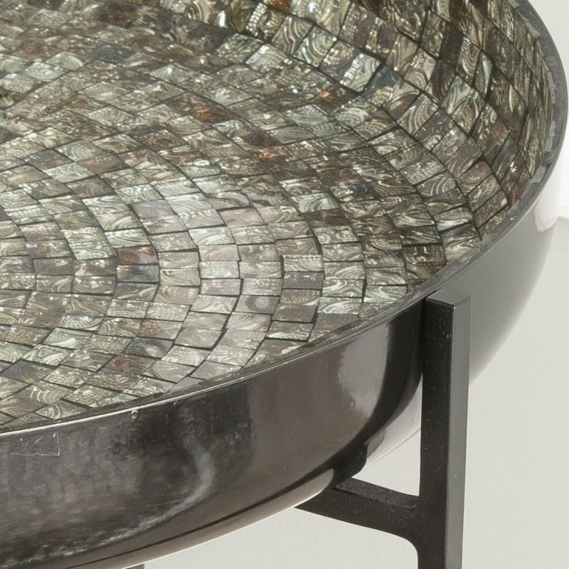 Mimosa Mosaic Top Accent Tray Tables - Set of 2 - Black Metal Frame