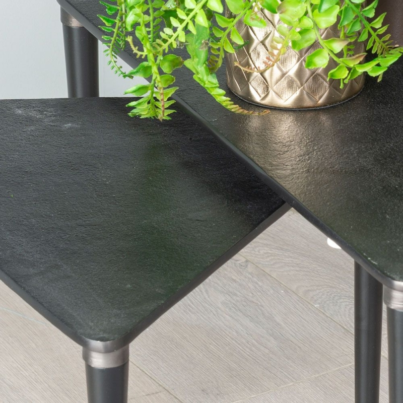 Mid Century Black Metal Nest of 2 Tables -Antique Black Triangle Top
