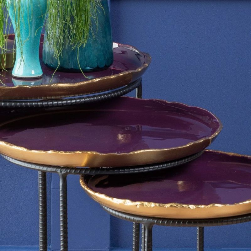 Havant Gold and Purple Enamel Painted Round Nest of 3 Tray Tables