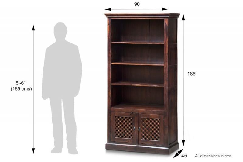 Wood Jali Sheesham 2 Door 3 Shelves Large Bookcase