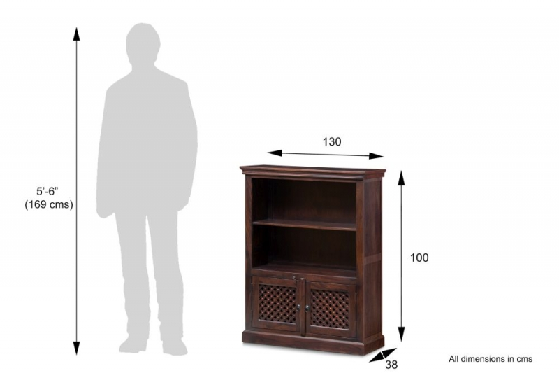 Wood Jali Sheesham 2 Door 1 Shelf Medium Bookcase