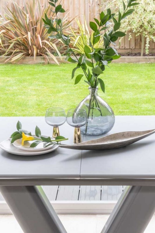Bergen Matt Grey 160cm Drop Leaf Dining Table - Glass Extention