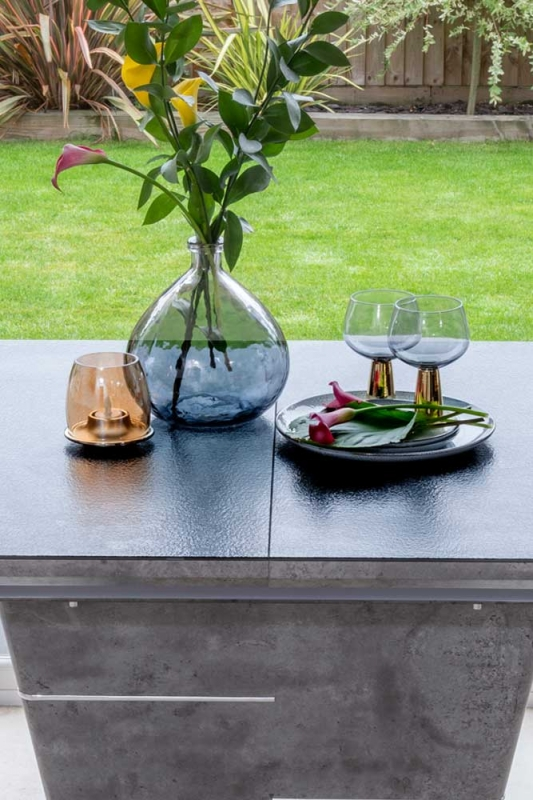 Berlin Grey  Ceramic Effect 160cm-200cm Drop Leaf Dining Table - Glass Extention