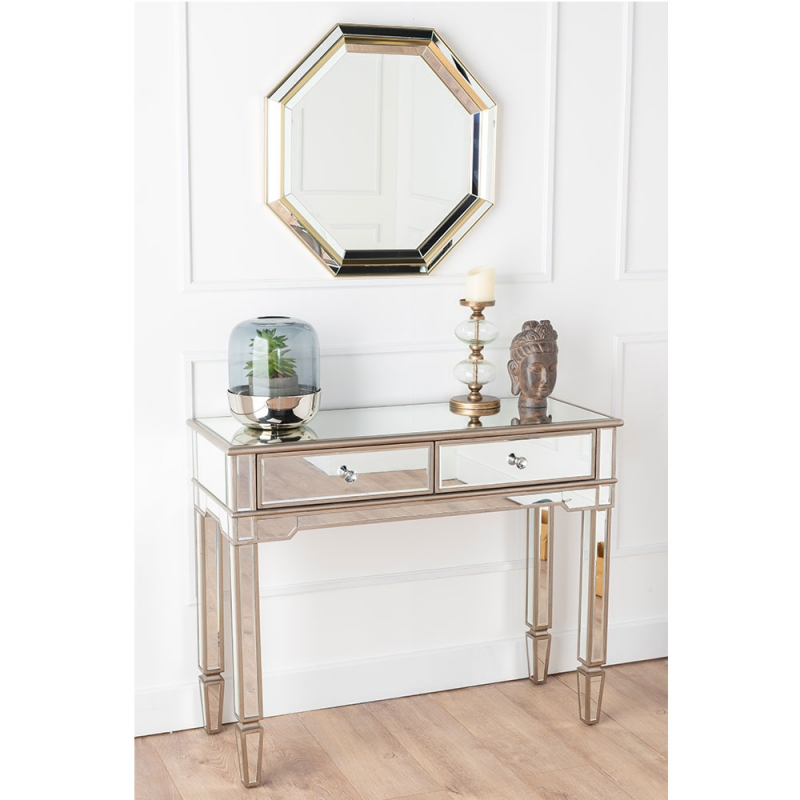 Versailles Venetian Mirrored 2 Drawer Console Table