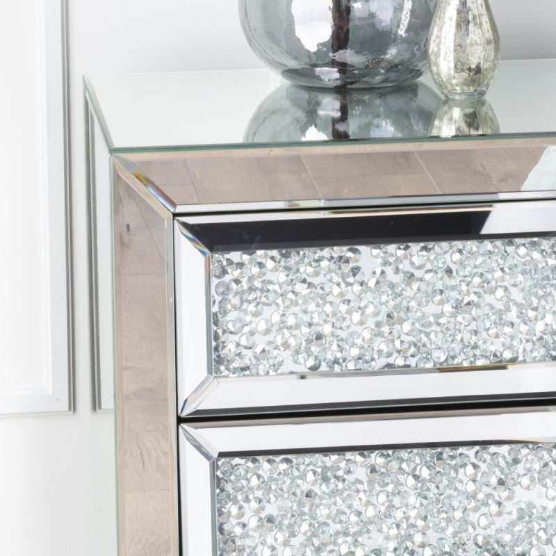Gatsby Crystal Mirrored 3 Drawer Bedside Cabinet