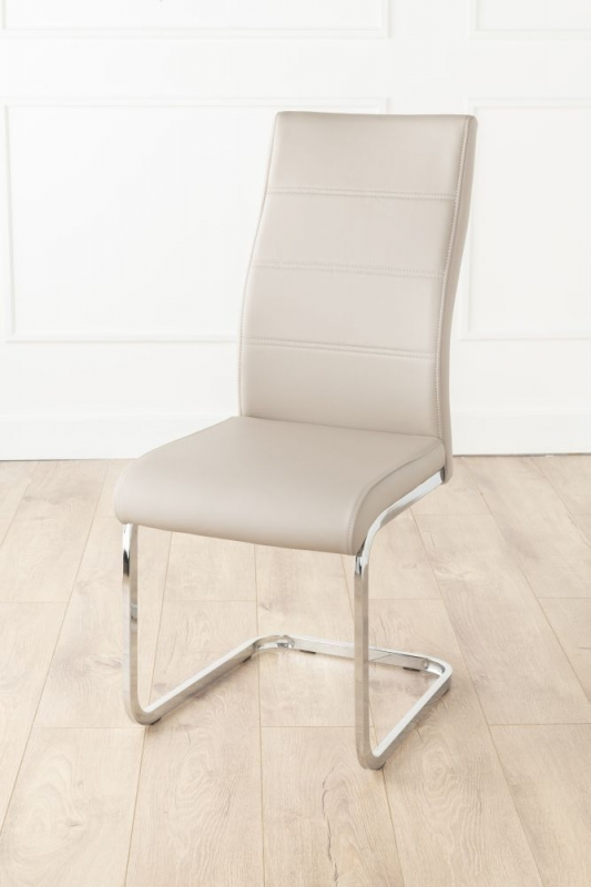 Bergen Matt White 160cm-200cm Drop Leaf Dining Set with 4 Mercury Taupe Faux Leather Swing Chairs and Get 2 Extra Chairs Worth £128 For FREE