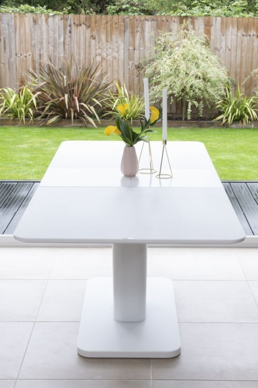 Bergen Matt White 160cm-200cm Drop Leaf Dining Set with 4 Mercury Grey Faux Leather Swing Chairs and Get 2 Extra Chairs Worth £128 For FREE