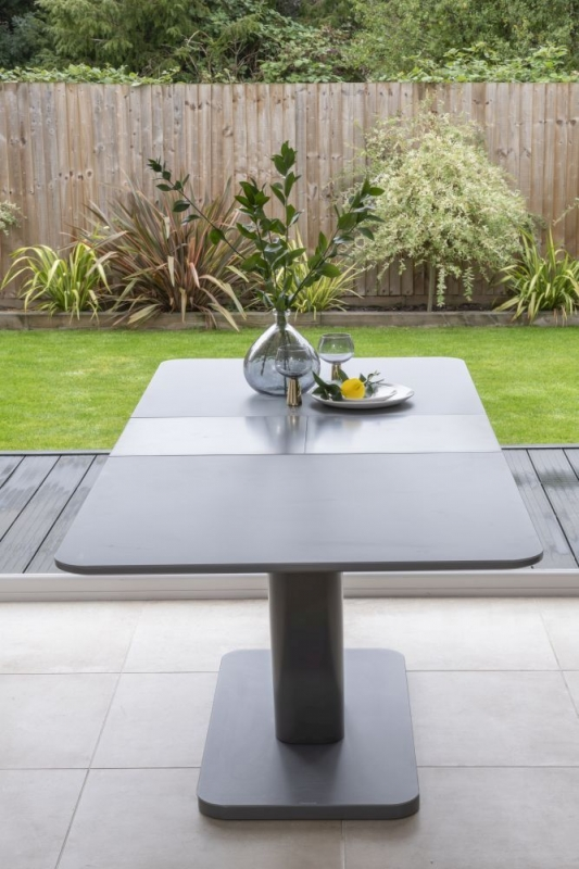 Bergen Matt Grey 160cm-200cm Drop Leaf Dining Table and 6 Jamison Grey Faux Leather Swing Chairs