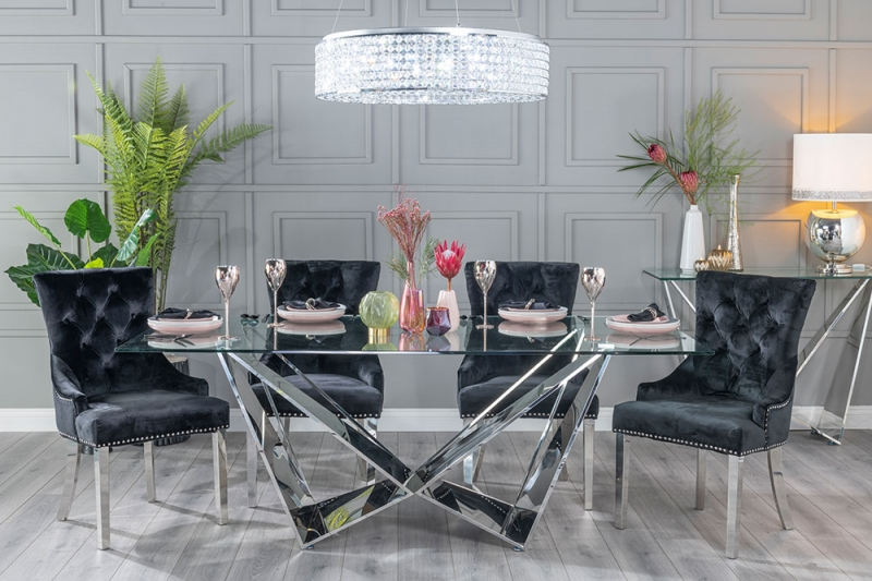 Corran Glass and Stainless Steel Chrome Dining Table