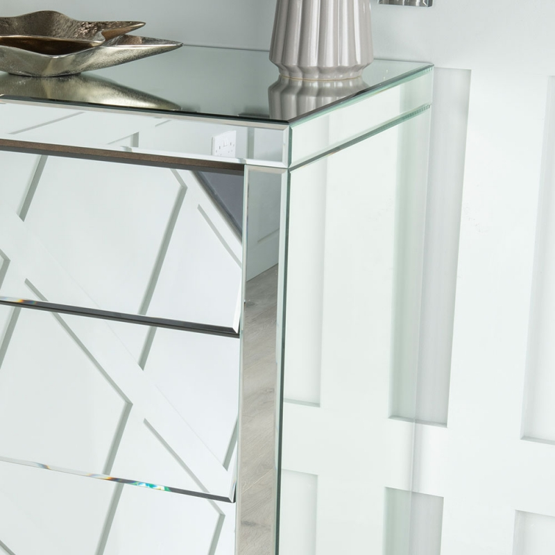 Aledo Mirrored 5 Drawer Tall Chest