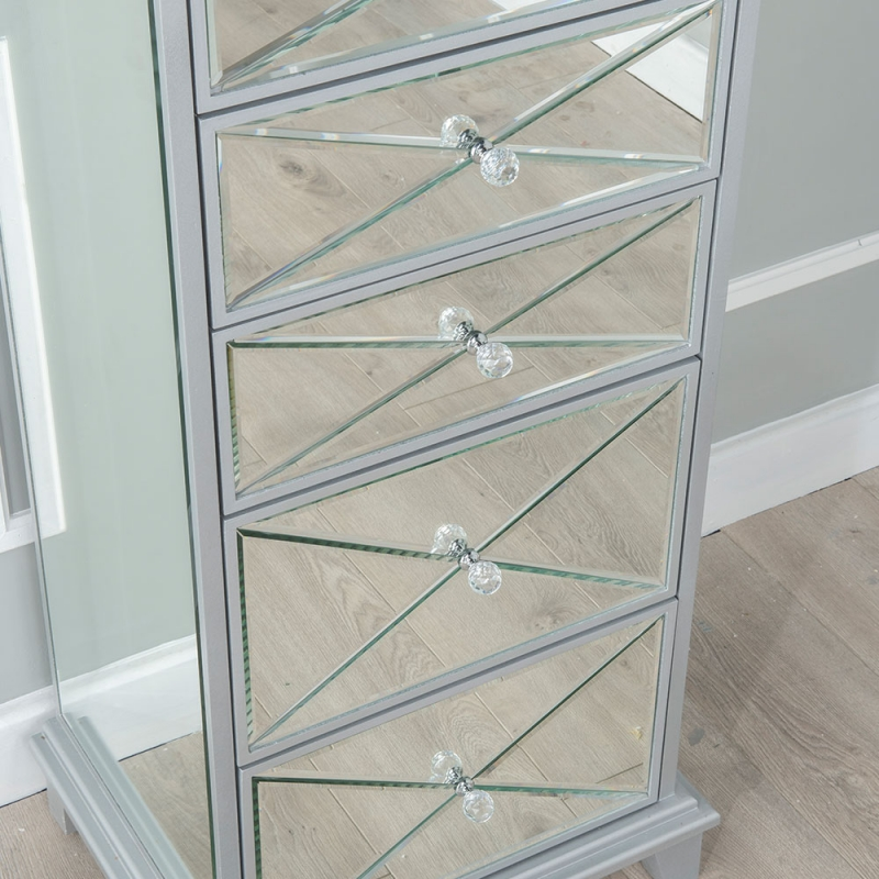 Merek Mirrored 5 Drawer Tall Chest