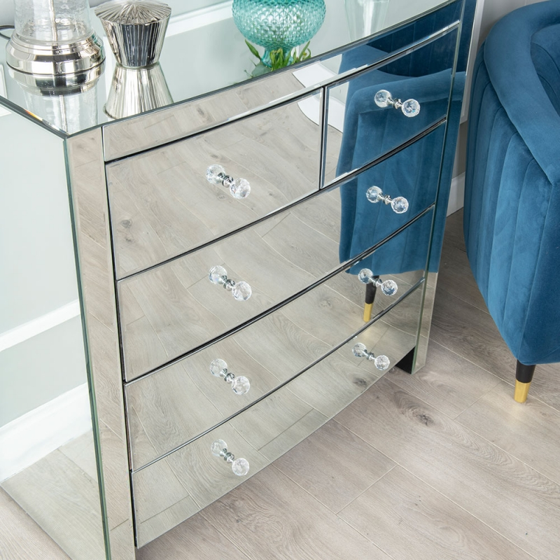 Fiore Mirrored 3+2 Drawer Wide Chest