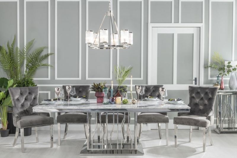 Barner Grey Marble and Stainless Steel Chrome 8 Seater Dining Table