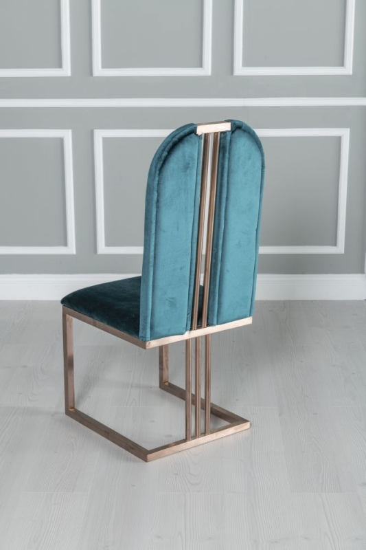 Calto Green Fabric Dining Chair with Stainless Steel Bronze Legs
