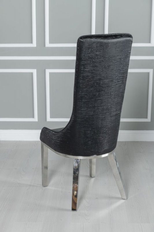 Maive Black Faux Leather Dining Chair with Stainless Steel Chrome Legs
