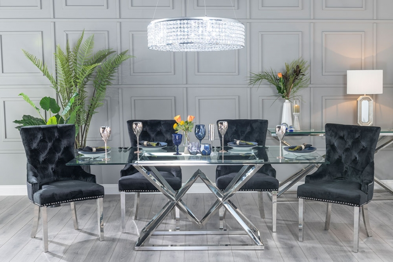 Helm Glass and Stainless Steel Chrome Dining Table