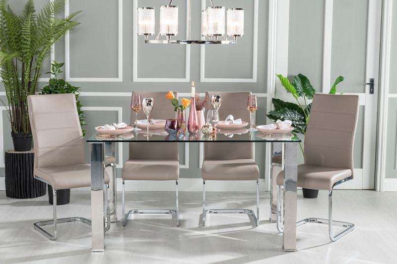Sovana Glass and Stainless Steel Chrome Dining Table