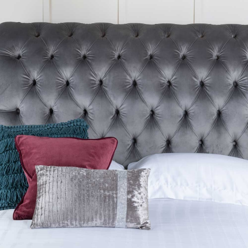 Churchill Grey Velvet Fabric Upholstered 5ft King Size Bed