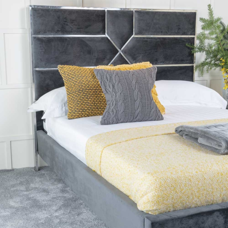 Reflex Grey Fabric Upholstered 5ft King Size Bed