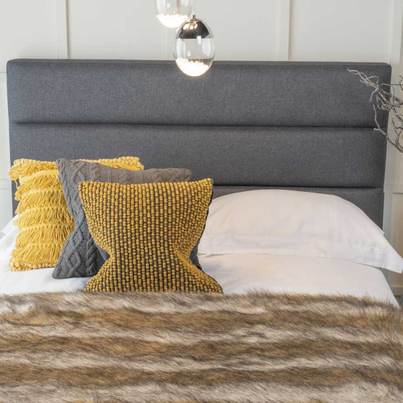 Astral Grey Fabric Upholstered 4ft 6in Bed