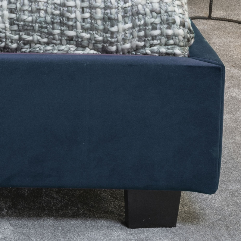 Tosca Blue Velvet Fabric Upholstered 5ft King Size Bed