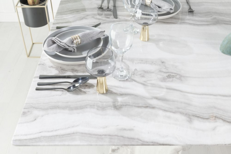 Alpha Grey and White Marble Double Pedestal Dining Table
