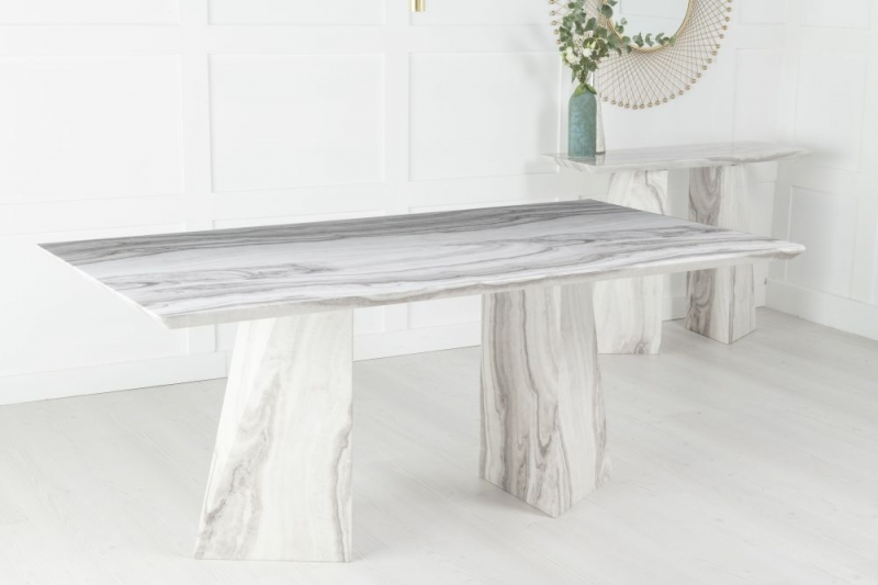 Alpha Grey and White Marble Double Pedestal 200cm Dining Table