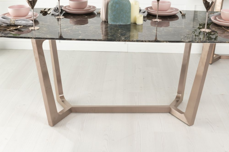 Amara Brown Marble and Stainless Steel Bronze Dining Table