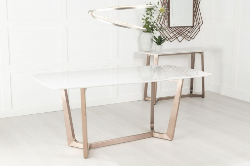 Amara White Marble and Stainless Steel Bronze Dining Table