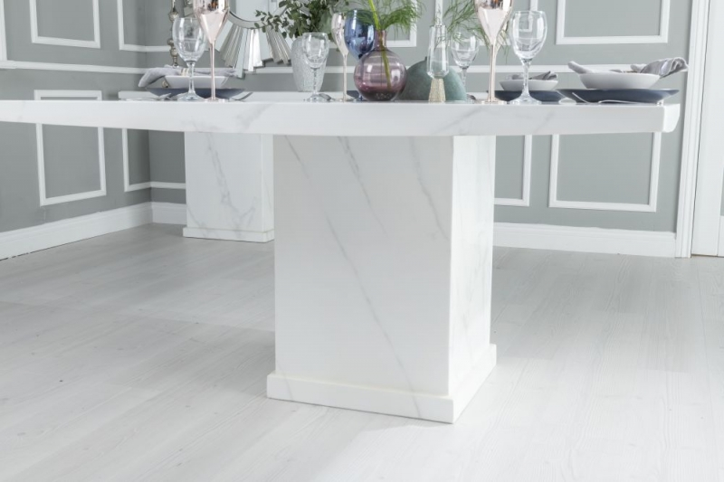 Prague White Marble 140cm Square Dining Table
