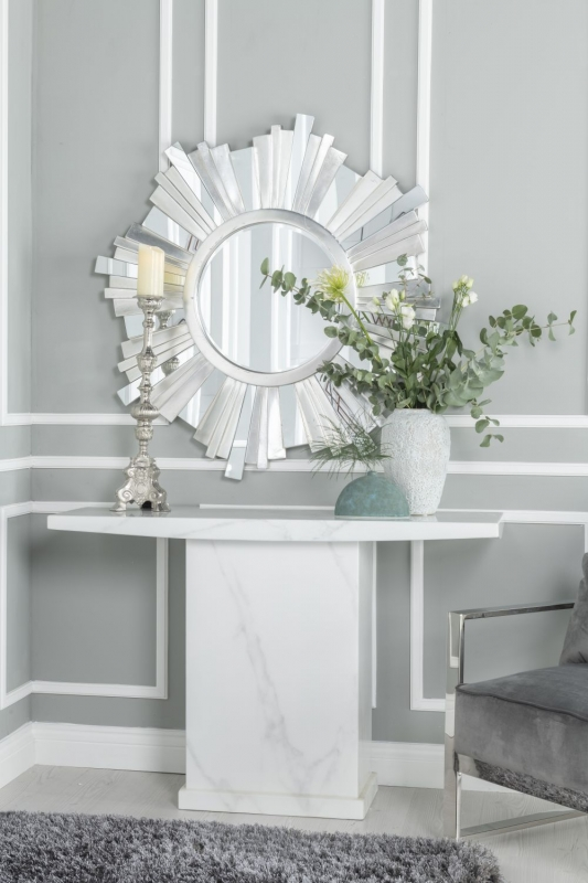 Prague White Marble Console Table