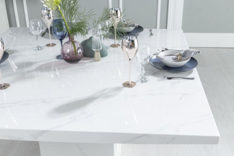 Prague White Marble 140cm Dining Table with 4 Eclipse Grey Knockerback Chrome Leg Chairs and Get 2 Extra Chairs Worth £398 For FREE