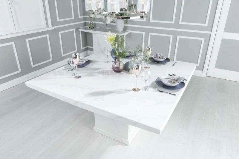 Prague White Marble 140cm Dining Table with 4 Eclipse Black Knockerback Chrome Leg Chairs and Get 2 Extra Chairs Worth £398 For FREE
