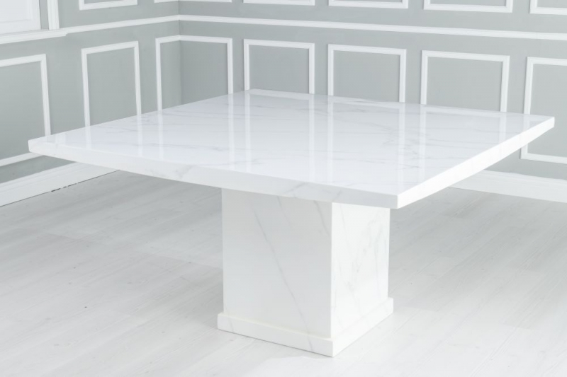 Prague White Marble 140cm Dining Table with 4 Avila Blue Chairs and Get 2 Extra Chairs Worth £438 For FREE