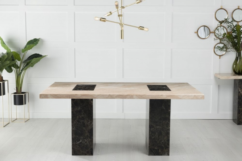 Strasbourg Cream and Brown Marble 180cm Rectangular Dining Table