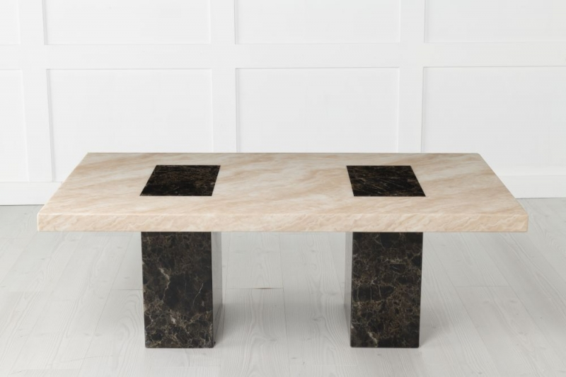 Strasbourg Cream and Brown Marble Coffee Table