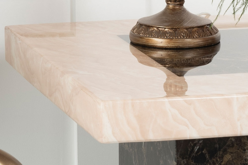 Vidro Cream and Brown Marble Side Table
