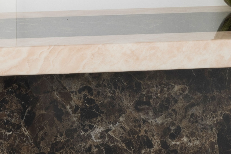 Vidro Cream and Brown Marble Console Table