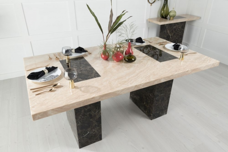 Strasbourg Cream and Brown Marble 180cm Dining Table with 4 Nova Black Chairs and Get 2 Extra Chairs Worth £358 For FREE