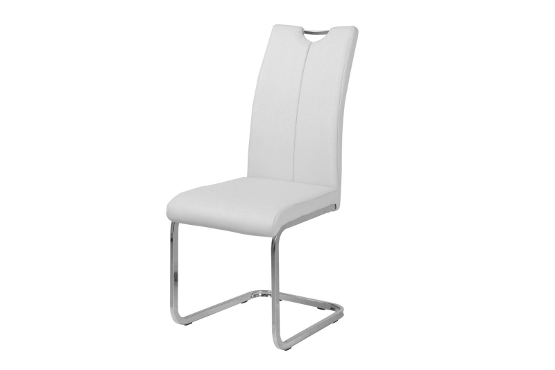 Milo Light Grey Faux Leather Cantilver Dining Chair